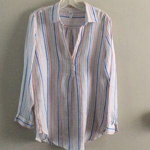 GAP linen striped tunic blouse M